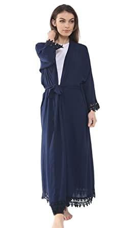 Womens Ladies Long Lace Trim Kimono Open Front Abaya Maxi Style Belted Cardigan Women's Clothing