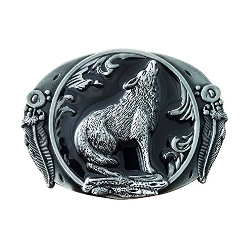 QUKE Men's Arizona Howling Wolf Leaf Hunting Silver Belt Buckle Black Enamel