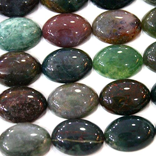 (4pcs Oval 18*25mm Natural Gemstone Cabochons for Jewelry Making Beads Cabs (Indian agate))