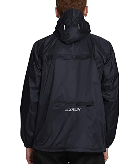 c751cefb2 EZRUN Men's Waterproof Hooded Rain Jacket Windbreaker Lightweight Packable  Raincoat (Black ...