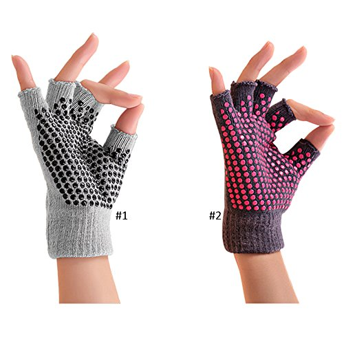 New Super Grippy No slip Yoga Gloves One Size Fits All!! 1 Pair, Red Or Grey In Random