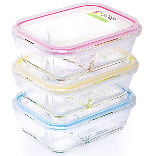 Glass Food Storage 2-Compartment Containers - Divided Meal P
