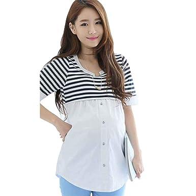 a0c2789f6 Mengonee Blusas de Lactancia Alimentación Camisa de Maternidad Embarazo  Tops Enfermería Camisas Ropa de Maternidad para