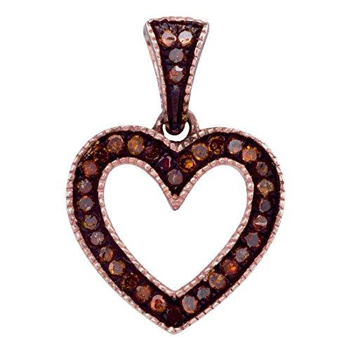 Sonia Jewels 10K Rose Gold Prong Set Chocolate Brown Heart Diamond Pendant Charm (1/10 cttw.)