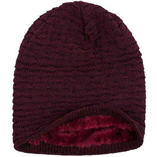 forro panal y Vino polar punto de elegante deportivo Beanie Rojo interior Compagno Gorro con invierno Brezo de de xq8wO1Y