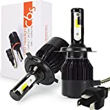 Safego 6000lm H4 Hi/Lo LED Headlight Kit Bulbs COB Chip HB2 9003 High Low Car Auto LED Conversion Kit 12v 1 Year Warranty Replace for Halogen Lights or HID Bulbs Lamp C6S-H4