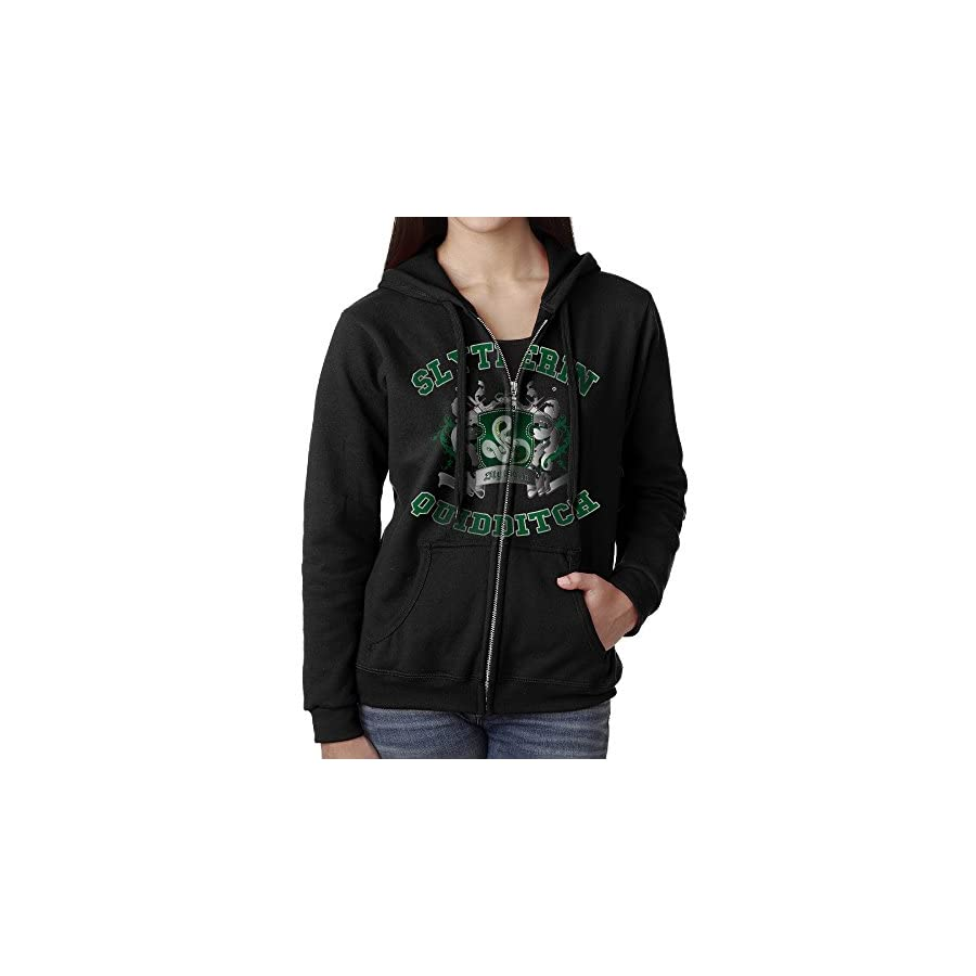 KOBT Women's Slytherin Quidditch Full Zip Sweatshirt Jackets Black