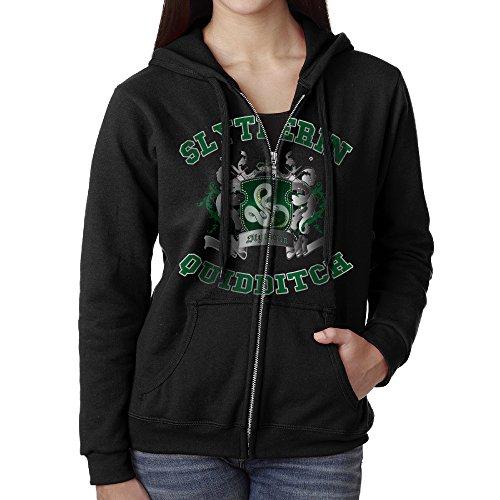 KOBT Women's Slytherin Quidditch Full Zip Sweatshirt Jackets Black