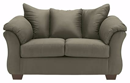 Ashley Furniture Signature Design   Darcy Love Seat   Contemporary Style  Microfiber Couch   Sage