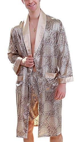 Men's Summer Printed Bathrobes Luxurious Kimono Soft Satin Robe with Shorts Nightgown Long-Sleeve Pajamas