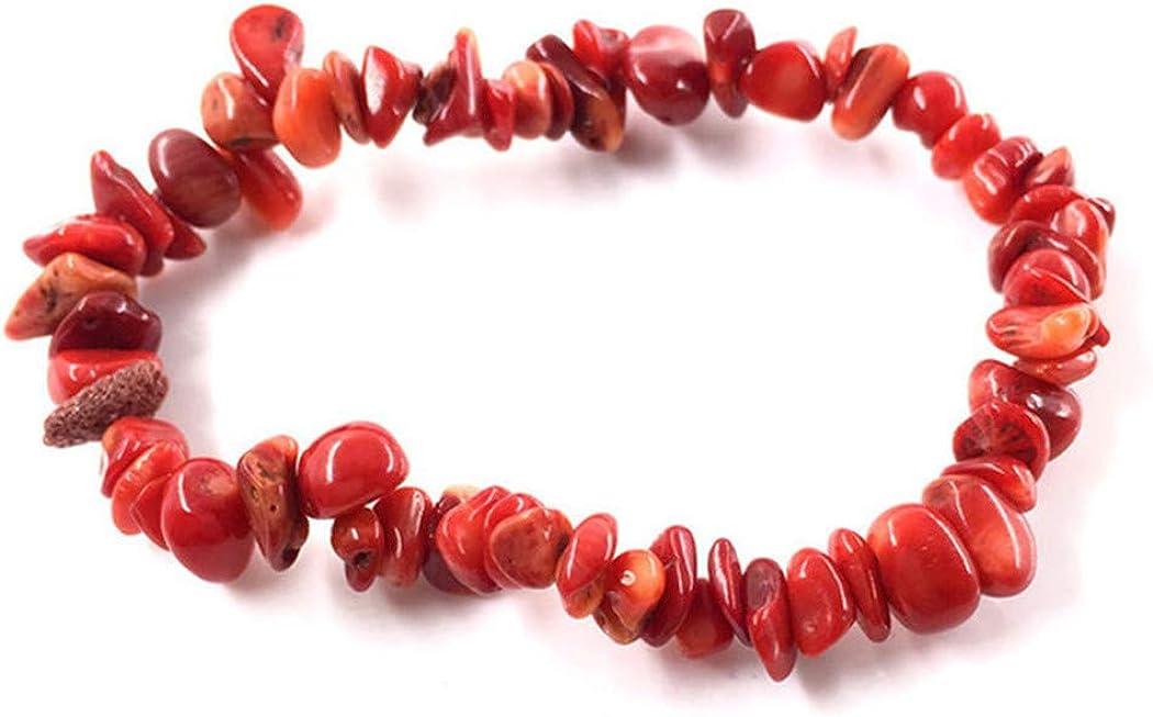 Aya611 Pulsera De Piedras Preciosas De Colores Naturales Pulsera De Cuarzo Pulsera Joyería 19Cm Coral Rojo