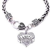 "JGFinds DIABETIC Awareness Alert Charm Women's Bracelet, 7.5"" Silver Tone"