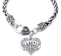 "JGFinds DIABETIC Awareness Alert Charm Women's Bracelet, 7.5"" Silver Tone"
