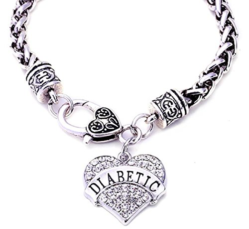 DIABETIC Awareness Alert Charm Womens Bracelet, 7.5 Silver Tone (Diabetic 2 Type Bracelets Id)
