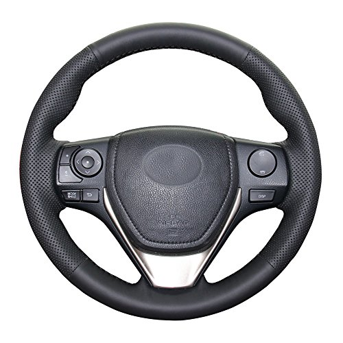 Eiseng Customized DIY Black Genuine Leather Steering Wheel Cover with Needles for 2013 2014 2015 2016 2017 2018 Toyota RAV4 Interior Accessories / For 2014-2018 Toyota Corolla 15 inches (Black thread)