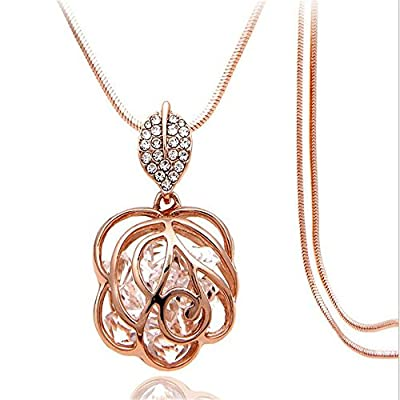 Z-Jeris Fashion Rhinestone Crystal Stuffing Hollow Flower Pendant Long Chain Necklace