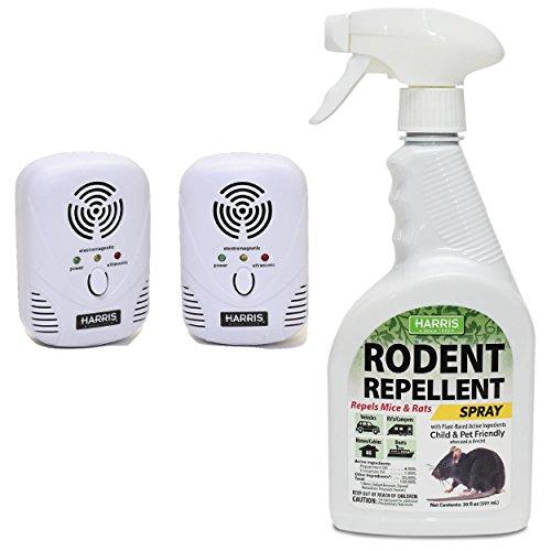 Harris Rodent Repellent Bundle Pack - 20oz Plant Based Spray & Ultrasonic Pest Repeller (2-Pack)
