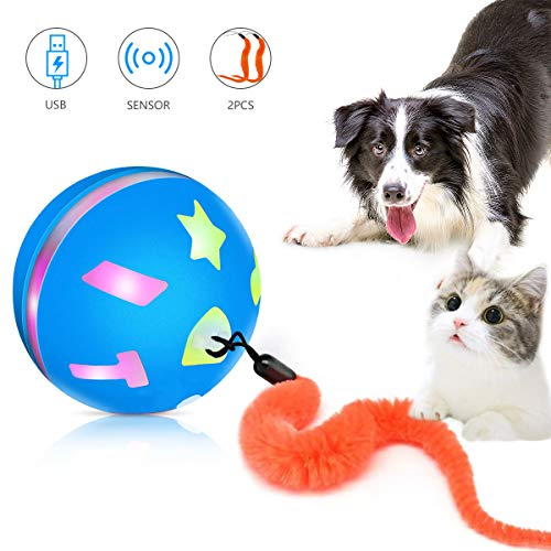 PETRIP Interactive Cat Toy Ball, USB Rechargeable Motion Ball, 360 Degree Self Rotating Ball with Red LED Light, for Kitty