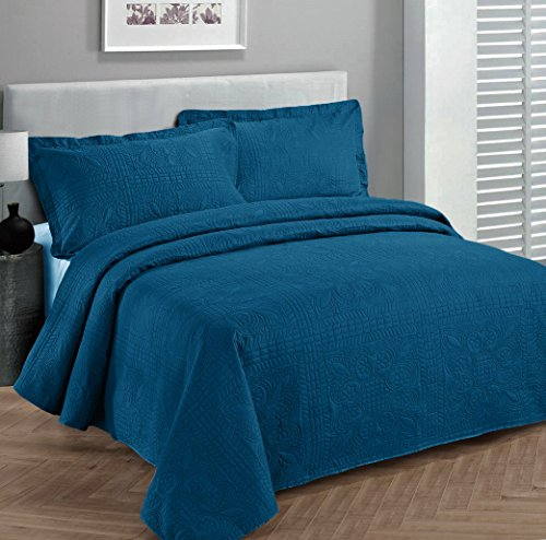 Fancy Collection 3pc Luxury Bedspread Coverlet Embossed Bed Cover Solid Blue New Over Size 118