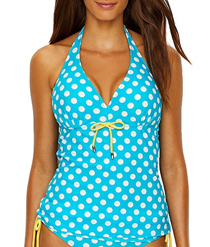 Pour Moi Starboard Halter Underwire Tankini Top, 38DD, Turquoise/Lemon