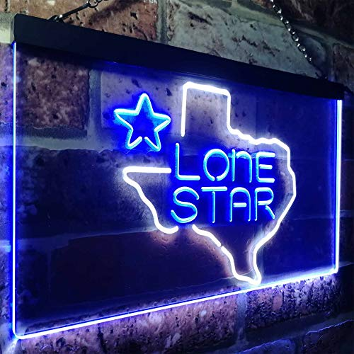 (zusme Texas Lone Star Beer Bar Novelty LED Neon Sign White + Blue W16 x H12)