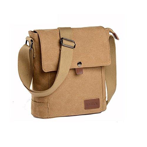HQ Herren Tasche Leinwand Rucksack Umhängetasche Messenger Bag Täglich Lässig Reisetaschen ( Farbe : Braun ) Khaki WTAPkfP3bq