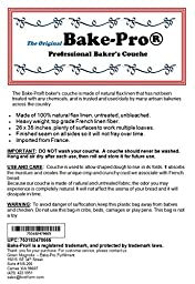 Bake-Pro Professional Bakers Couche, Heavy Duty Pure French Flax Linen, 35\'\'x26\'\', EU Certified for Direct Food Contact, Hemmed Edges, Minimum Lint
