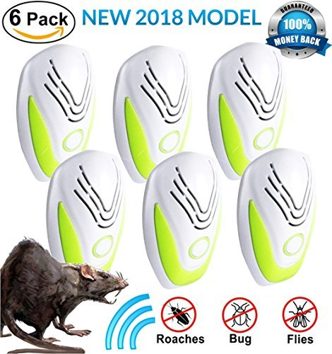 Yard Flea Control - PEST CONTROL ULTRASONIC REPELLENT 6-PACK (2018 BEST MODEL) Repeller Plug In for Insects, Mice, Rats, Spiders, Fleas, Roaches, Bed Bugs, Mosquitoes, Eco-Friendly, Baby, Pet Safe & Non Toxic! WITH EBOOK