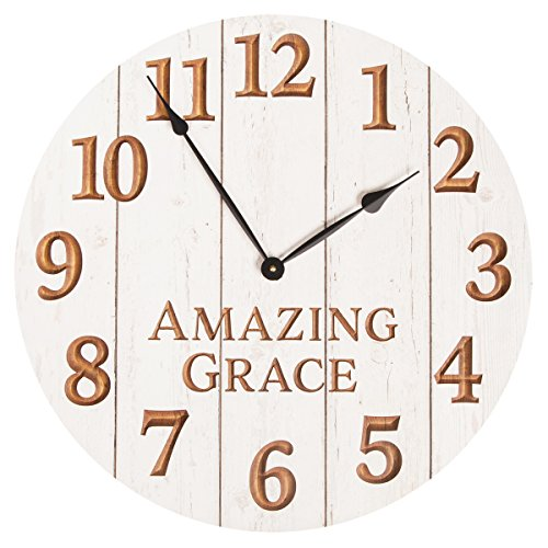 Amazing Grace White Weathered 22.25 Inch Wood Carved Country Wall Clock by P Graham Dunn
