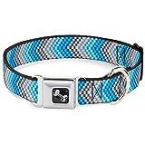 Grey White Blue Chevron Arrow Pattern Fun Animal Seatbelt Pet Collar, Multicolor, Wide Medium