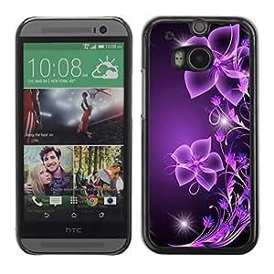 Be Good Phone Accessory // Dura Cáscara cubierta Protectora Caso Carcasa Funda de Protección para HTC One M8 // Purple Black Bling Glitter