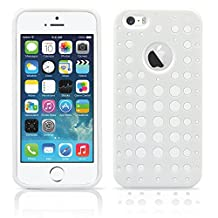 iPhone 5S Case, MagicMobile® Dual Thin Armor Shockproof Case for iphone 5 Impact Resistant Rubber [Polka Dot Pattern] Hard Plastic Cover Hybrid Armor Protective Case for iPhone 5/5s [White - White]