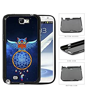 Blue Owl Dream Catcher with Space Background Hard Snap on Phone Case Cover Samsung Galaxy Note 2 N7100