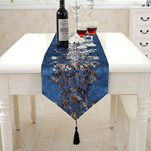 Baby blue modern gold floral hemstitch tapestry western table runner 90 inch approx velvet fabic for wedding