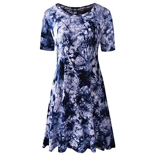 (TINYHI Women's Casual Short Sleeve Tunic Tie Dye T-Shirt Comfy Loose Swing Dress Navy,Small)