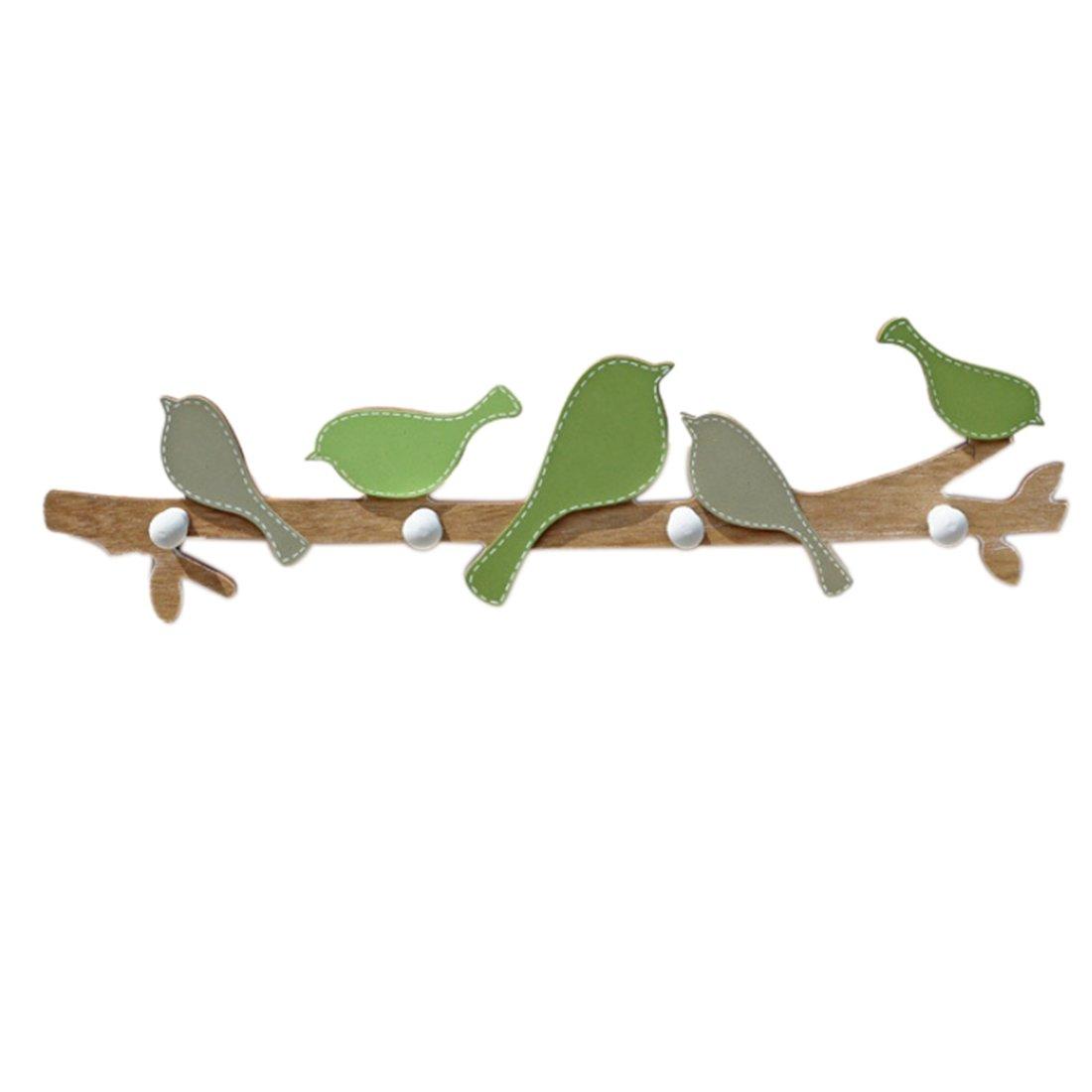 Likeluk Appendiabiti da Parete Appeso con 4 Ganci Decorati per Bambini, Forma di Uccelli, in Legno