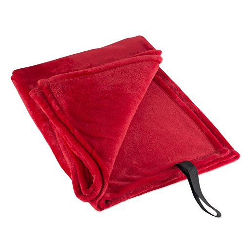 - DII Fleece Luxury and Soft Lightweight Microfiber Throw Blanket for Travelling BBQ, Compact Size with Elastic Band, 36x54, Flame Red