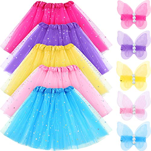 Leinuosen 5 Set Girls Layered Sequins Ballet Tutu Skirt 3 Layer Thickness Ballet Dance Tutu Dress with Butterfly Hair Clips ()