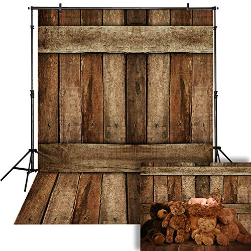 (Funnytree 5x7ft Brown Rustic Wood Wall Backdrop Vintage Wooden Floor Photography Background Natural Texture Faux Board Barn Baby Portrait Decorations Photo Studio Banner Photobooth Propss)