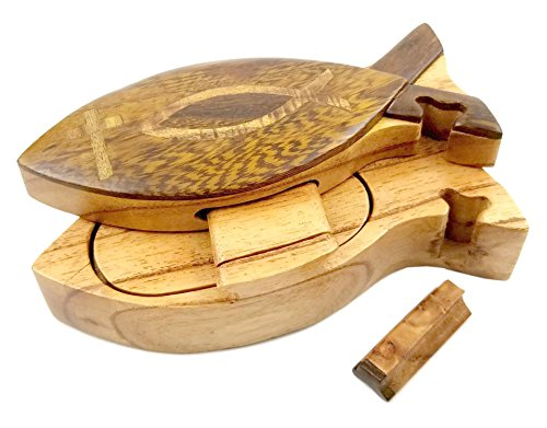 Christian Fish All Natural Exotic Woods Puzzle Box, 6 x 2.5 x 2 with Sliding Wooden Key Lock, Sliding Cover and Inner Lid to Hidden Compartment. Hand-made Wood Onlay Design on Lid.