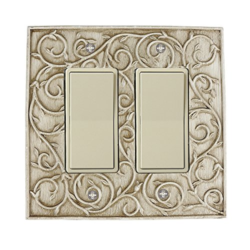 Meriville French Scroll 2 Rocker Wallplate, Double Switch Electrical Cover Plate, Weathered White
