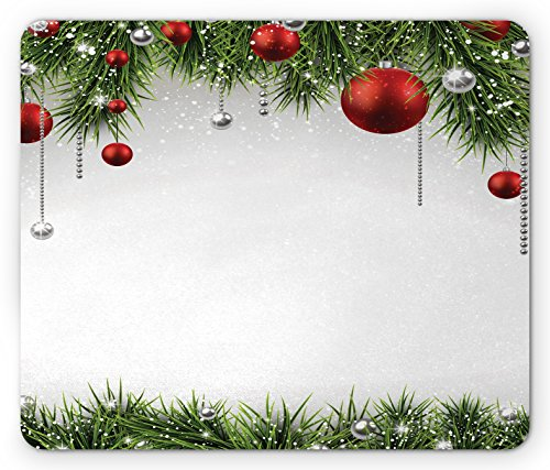 (Ambesonne Christmas Mouse Pad, Classical Christmas Ornaments and Baubles Coniferous Pine Tree Twig Tinsel Print, Rectangle Non-Slip Rubber Mousepad, Standard Size, Green Red)