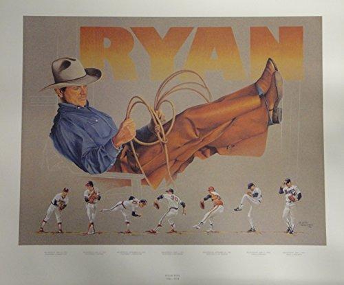 Ryan Nolan Numbers Texas Rangers (Nolan Ryan 20x27 Poster In Texas Cowboy Hat Teams Angeles New York Mets Rangers)