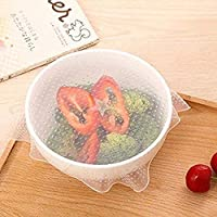 PAWACA Silicone Stretch Lids-4 Pcs Reusable Silicone Food Wraps Vacuum Seal Covers,Keep Food Fresh,Multifunctional Silicone Cling Film for Bowl/Cup/Cup
