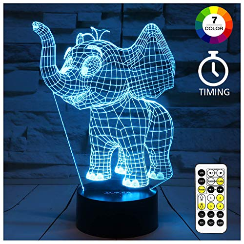 ZOKEA Night Light for Kids Elephant 3D Night Light 7 Colors Changing Bedroom Nightlight with Smart Touch & Remote Control Bedside Lamp for Kids Room Decor or as Birthday Gifts for Kids Girls Boys (Best Room Ideas For Girls)