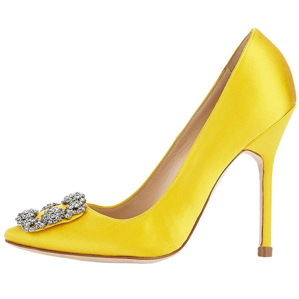 Caitlin Bout Pan Femmes Escarpins Classique Classique Talons Hauts Satin Bout Pointu Pointu Diamants Talon Aiguille Chaussures de Robe Jaune 9174bb9 - shopssong.space