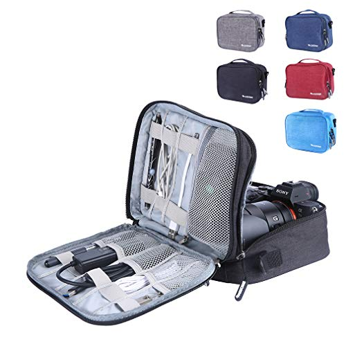 LANPA Double Layer Electronics Organizer Travel Cable Cord Bag Accessories Gadget Storage Cases for USB Cable,Cords,Phone, Charger, E-Book Kindle, Digital Camera, iPad and More(Black)