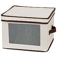Caja de almacenamiento de vajillas con tapa y manijas Essentials 536 | Contenedor para platos de comida | Lona natural con ribete marrón