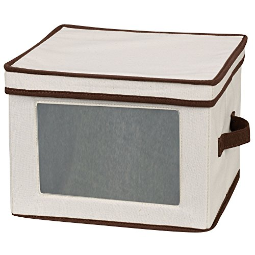 (Household Essentials 536 Dinnerware Storage Box with Lid and Handles | Storage Bin for Dinner Plates | Natural Canvas with Brown Trim)