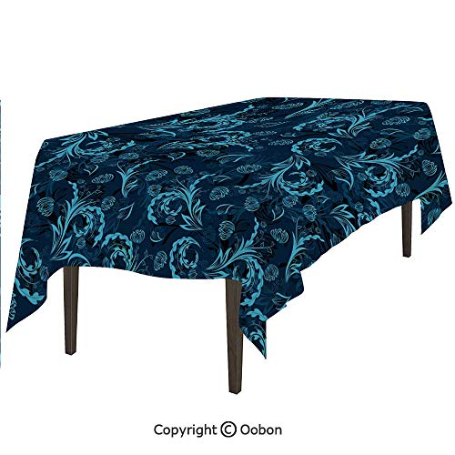 oobon Space Decorations Tablecloth, Abstract Damask Inspired Curvy Flower Figures Ornate Flourish Royal Revival Retro Decorative, Rectangular Table Cover for Dining Room Kitchen, W60xL84 inch